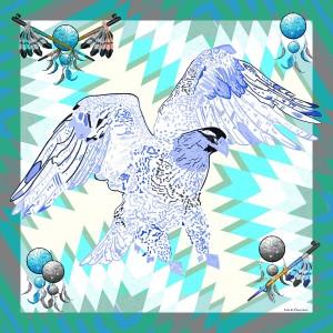 foulard-ines-de-parcevaux-coton-soie-grand-carre-vert-et-bleu-collection-indian-spirit